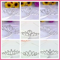 Wholesale Pageant Hair Bows - cheap Beautiful Shiny Crystal Bridal Tiara Party Pageant Silver Plated Crown Hairband baroque crystal Wedding hair Accessories 2017