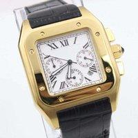 ingrosso orologio da orologio al quarzo bianco-Cinturino in oro bianco di lusso in oro bianco con quadrante nero con cinturino in pelle da uomo