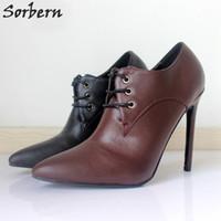 Wholesale Rivets Image - Mature Matte PU Dress Shoes 12CM High Heels Stilettos Plus Size 36-46 Shoes Women Pumps Designer Heels 2018 Custom Colors Real Image