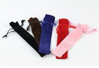 Wholesale Velvet Pencil Case - Velvet Pen Pouch Holder Single Pencil Bag Pen Case Rope Locking Gift Bag