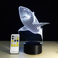 Wholesale gadgets children - Wholesale- 1X 3D Shark Illusion Decor Touch Sensor Night Light LED USB Electronic Home Gadget Bedroom Table Lamp Child Sleeping Lamp Gift