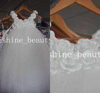 Compra Perline Lavorate A Mano-Nuove foto reali sveglie Handmade Rose Flowers Beading Ball Gown Little Girl Pageant Prom Dresses Flower Girl Dresses