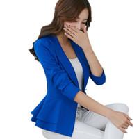 ingrosso blazer candies-2017 Donne Blazers Un pulsante Giacche di colore della caramella di nuovo modo solido Slim Office Wear cappotto Ruffle Blazer Capispalla femminile BZ001