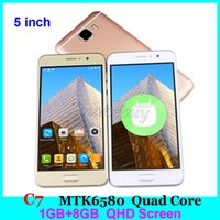 Unlocked 3G Dual SIM MTK6580 Quad Core 5-дюймовые смартфоны C7 1GB 8GB Android Mobile Phone Gesture QHD 2.5D Arc Multi-touch Screen