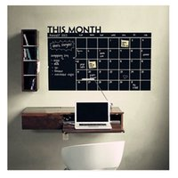 Wholesale Paper Wall Calendar - 60*92CM # black This Month Monthly Calendar Chalkboard Paper Chalk Boards Wall Sticker Decals Removable For Student Baby Nursery FX202