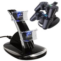 Blue Light Dual Double 2 Base USB per caricabatterie USB Base per basi per pontile per PlayStation 3 PS3 PS 3 controller di gioco nero