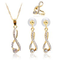 Wedding Infinity Love Music Notes Crystal Rhinestone Necklace Earring Ring Sets Conjunto de jóias para mulheres Classics Luxury Gold Plated Accessories