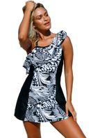 Wholesale Monochrome Dresses - Newest Hot Items Two Piece Swimsuit Bikinis Women 2017 Brazilian Monochrome Jungle Swim Dress Bathing Suit With Shorts