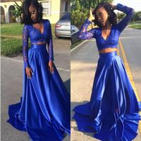 blaue lange spitze rock stück großhandel-Royal Blue Zwei Stücke Kleider Abendgarderobe V-Ausschnitt Spitze Top Satin Rock Arabisch Long Sleeves Abendkleid Lange Vestidos Homecoming Kleid