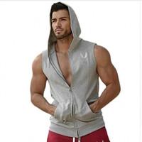 Wholesale Hooded Singlets - Wholesale-New Men Hoodie Brand Sweatshirts Fitness Workout Sleeveless Tees Shirt Cotton Vest Singlets Hooded