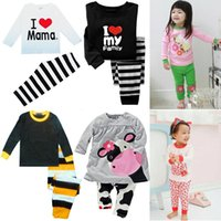 Wholesale I Love Pink Set - Hooyi Baby Girls Clothes Suits Cotton Children Sleepwear Sets Girl's T-Shirts Pants 2pcs Sets Pyjamas PJ'S I Love Mama Pink Tops