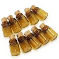 бутылочное стекло оптовых-Новый 10 шт. желая бутылки пустые коричневые стеклянные бутылки флаконы банки маленький Шарм счастливые бутылки DIY 1.1*1.1*2.2 cm