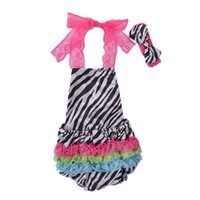 Wholesale crew neck sweaters wholesale - Baby Rompers Backless Stomachers Hairband for Girls Stars Rainbow Stripes Summer Baby Jumpsuits Two-piece Garment Sleeveless Sweater 0-2T