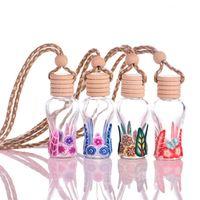 Wholesale wholesale glass bottles engraved - 100pcs lot Mini 15ml Car Hanging decoration Pendant Air Freshener Perfume Fragrance Diffuser Empty Glass Bottle Free Shipping