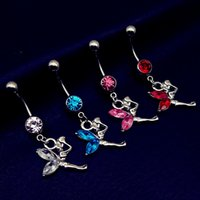 Wholesale Silver Ball Piercing - 10pcs Angel Navel Piercing Ombligo Sexy Crystal dangling Belly Button Rings Summer Body Piercing Nombril, Ball Pircings free shipping