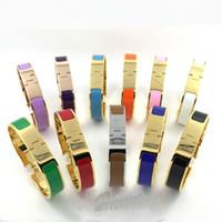 Wholesale H Links - Fine 12 mm H Bracelet Bangles for women 316L Titanium steel love Bracelets punk classic Wristband Pulseiras cuff Bangle for woman