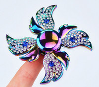Wholesale Flowers Puzzle - Diamond Fidget Spinner Rainbow Flower Angel Wings Butterfly Water Drop Skull Floral Tri-Spinner Puzzle Gyro Metal Alloy Spinning Top