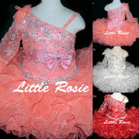 Wholesale Toddler Ruffle Shirts - Bling Bling Little Rosie Baby Girls Pageant Dresses 2017 BR1323 Ruffles Skirt Coral Cupcake Glitz Toddler Pageant Gowns with One Long Sleeve
