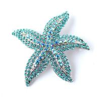 Wholesale Aqua Rhinestone Brooch - Aqua Blue Bridal Sash Starfish Brooch Blue Beach Jewelry