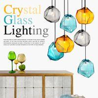 Wholesale Led G9 Blue - Modern Colorful Glass Pendant Light Special Glass Stone Chandelier Hanging Lamp G9 Led Suspension Lamp for Bar Restaurant Indoor Light