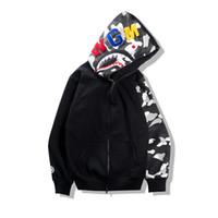 Wholesale Winter Men Brand Jackets - 2017 Autumn Winter Tide Brand Teenager Hip Hop Shark Print Camo Hoodie Loves Night Camouflage Cotton Zipper Sweatshirt Jacket