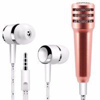 Wholesale Mix Record - Mini Condenser Handheld Microphone with earphone Singing Karaoke Recording Mic for IOS iphone Android Samsung Smartphone
