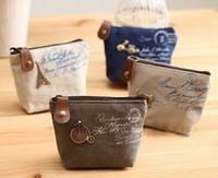vintage çanta paralı anahtarlık toptan satış-2017 Yeni Varış kadın kanvas çanta Sikke anahtarlık tuşları cüzdan Çanta değişim cep tutucu organize kozmetik makyaj Sıralayıcısı