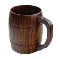 ingrosso bicchieri di vino novità-Boccali di birra di legno della tazza di legno naturale di stile classico che bevono per i regali della novità del partito Vetri di vino ecologici Trasporto libero