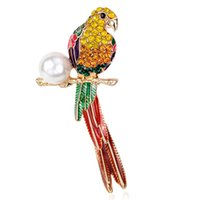 Wholesale cute parrot - Luxury Animal Cute Crystal enamel pearl parrot brooch Birds Brooches for Women Multi Color Rhinestone Gold Plated Jewelry Drop Ship 170734