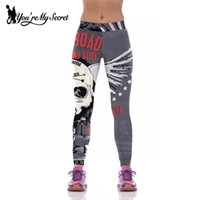 Wholesale Wholesale Jogger Pants Women - Wholesale- [You're My Secret] Women Leggings For Joggers High waist Elastic Slim Fitness Leggins Pants Mujer HOT ENGINE Skeleton Skull