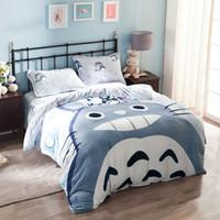 Wholesale Totoro Queen Size Bedding - Wholesale-Grey totoro warm fleece fabric bedding set 4pcs queen size soft duvet cover set pillowcase pillowcase quilt covet set bedsheets