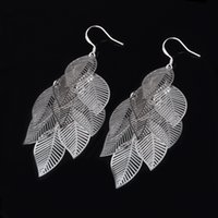 Wholesale Silver Plated Filigree - Silver New Design Style Fashion Filigree Charm Elegant Simple Vintage Big Hollow Maple Leaf Earrings Drop Jewelry Women