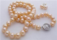 mixed akoya pearls Canada - 8-9MM Natural Pink Akoya Cultured Pearl necklace earrings set