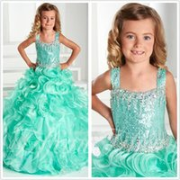 Girl Applique Organza 2017 Cute Green Princess Flower Girl Dress Hot Sale Spaghetti Strap Beaded Kids Pageant Dress Prom Wedding Gown Formal Dresses