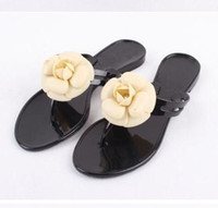 Wholesale Black Floral Flats - Wholesale-2017 summer women's floral slippers female's flip flops flowers slippers pvc sandals Camellia Jelly Shoes beach shoes