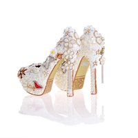 Wholesale flower design stilettos online - 2017 Pearl Wedding Dress Shoes in White Clor Gorgeous Design Flower Tassel Rhinestone Bridal Shoes Love Style Party Prom Pumps