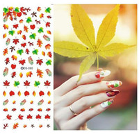 кленовый лист стикер оптовых-Nail Design Water Transfer Nails Art Sticker Sexy Colorful Maple Leaf Nail Wraps Наклейки Советы Маникюра для ногтей Постельные принадлежности Decal