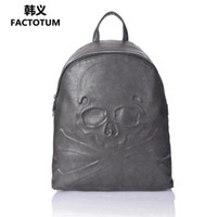 Wholesale Backpack Cooler Pocket - Factory direct male pack Cool Skull Man backpack premium leather embossed ghost backpack backpack brand premium leather fashion