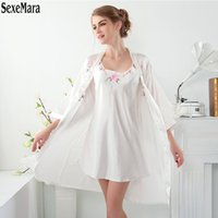 Wholesale Romantic Pajamas - Wholesale- Robes Full Print Limited 2017 Sexy Suspender Two Piece Nightgown Pajamas Bathrobe Female Summer Autumn Long Romantic Nightgowns