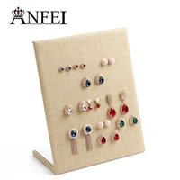 Wholesale Wooden Jewelry Display Stands - Natural Yellow Linen Material display shelf board pin earrings jewelry display stand earring holder jewelry box store shelf