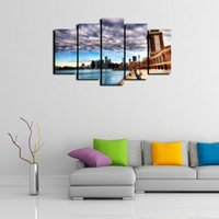 5 Panel paisaje de la ciudad de Chicago Modern Abstract Canvas Oil Painting Print Decoración de Arte de La Pared para la Sala de estar Decoración Del Hogar Enmarcado / Sin Marco