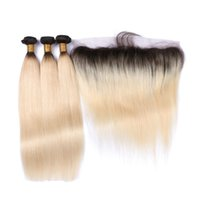 Wholesale Ombre Hair Pcs - 1B 613 Blonde Virgin Hair With Frontal Ear To Ear 13*4 Full Lace Frontal Closure With Bundles 3 Pcs Straight Lace Frontal Weaves