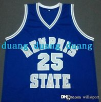 Wholesale Penny V - Cheap #25 PENNY HARDAWAY Memphis State Throwback Basketball Jerseys,Blue White Men's Stitched Embroidery Jersey