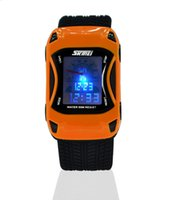 Wholesale Digital Watches For Cars - 2017 Hot Kids Watches Silicone Jelly Waterproof Swim Sport Wristwatches For Children Car Style Digital Led Cartoon Watch For Boy Drop Shippi