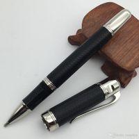 pluma clásica al por mayor-Buena calidad Clásica Negro / Rojo Metal Roller Ball Pen clip de plata MT plumas de lujo con número de serie