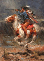 Wholesale Horse Portrait Oil Painting - Framed Western Native Americans & horse,Genuine Hand Painted portraits Art Oil painting On Thick canvas,Multi sizes Free Shipping Ta006