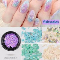 Wholesale Fishing Nail Art - New Shell Flakes Nail Art Decorations Natural Fish Scales 3d Manicure Pedicure Dyed Sequins Ornaments Diy Nails Beauty Gift 2017