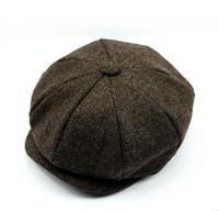 Wholesale Black Berets Wool - 2016 autumn and winter new wool hat male winter plus velvet labeling alphabet knitting cap