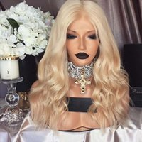 Wholesale Blonde Medium Wavy Wig - Lace Front Human Hair Wigs Wavy Blonde Brazilian virgin Hair 150% Density Full Lace Wigs Natural Hairline Glueless Bleached Knots
