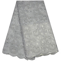 Wholesale Swiss Voile Lace Organza - 2017 Eyelets Swiss voile in Switzerland high quality African Organza lace fabric cheap White cotton lace fabric tulle F56SS